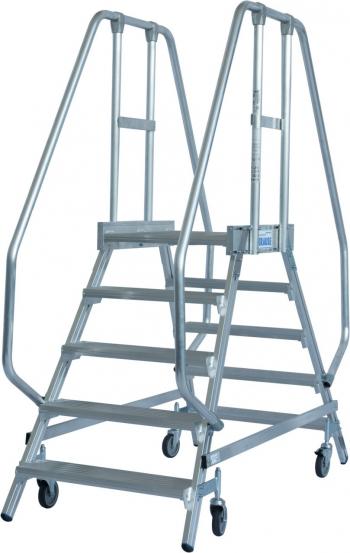KRAUSE Stabilo Двухсторонняя передвижная лестница с платформой 2Х5 ступ. (арт. 820259)