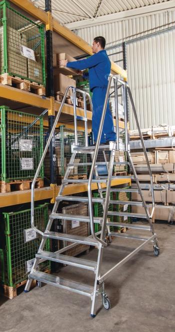 KRAUSE Stabilo Двухсторонняя передвижная лестница с платформой 2Х8 ступ. (арт. 820280)