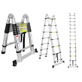 ALUMET Двухсторонняя телескопическая лестница с шарниром 1.9+1.9 м DTLH 1.9