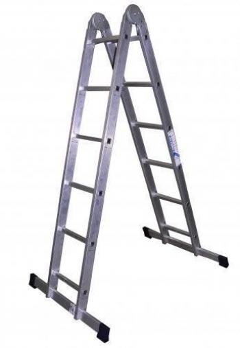 ALUMET Алюминиевая двухсекционная шарнирная лестница 2Х7 (арт. Т207)