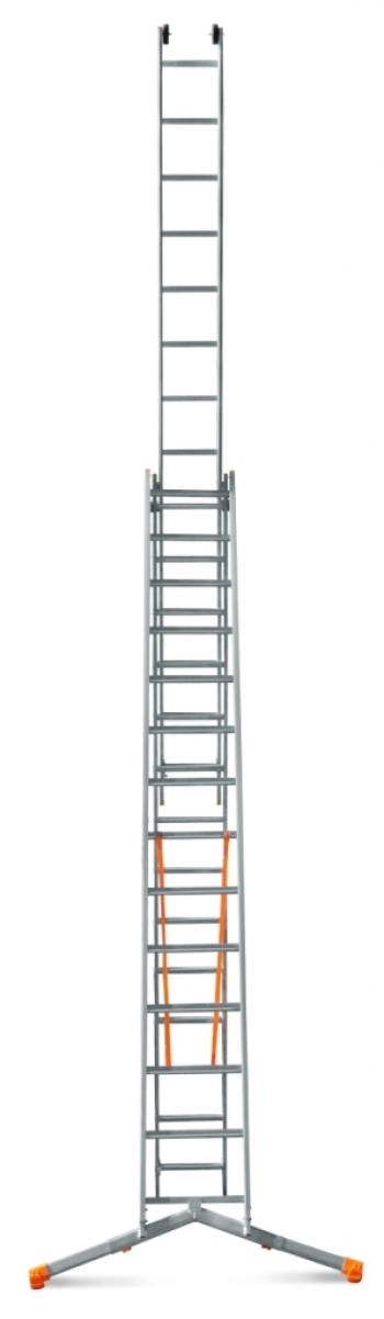 """ЭЙФЕЛЬ """"Ювелир Плюс"""" Трехсекционная лестница с раздвижной траверсой 3Х11 ступ."""