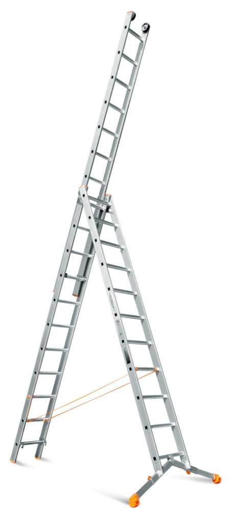 """Трехсекционная лестница с раздвижной траверсой Эйфель """"Ювелир Плюс"""" 3Х11"""