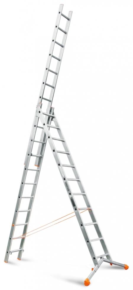 """ЭЙФЕЛЬ """"Ювелир"""" Трехсекционная лестница с раздвижной траверсой 3Х11 ступ."""