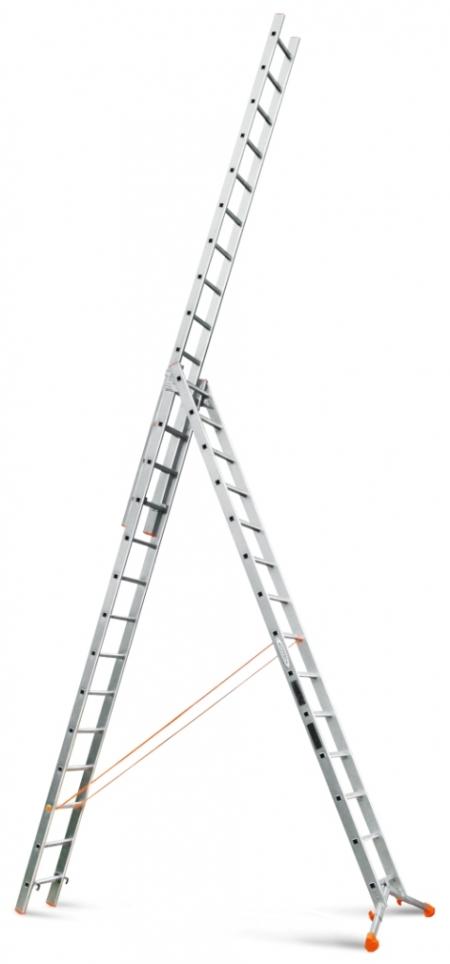 """Трехсекционная лестница с раздвижной траверсой Эйфель """"Ювелир"""" 3Х14"""