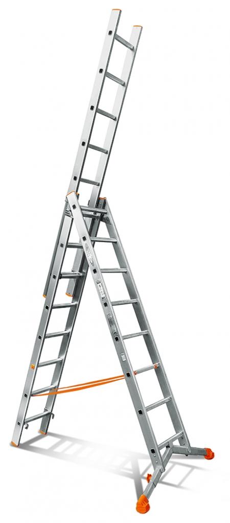 """Трехсекционная лестница с раздвижной траверсой Эйфель """"Ювелир"""" 3Х8"""